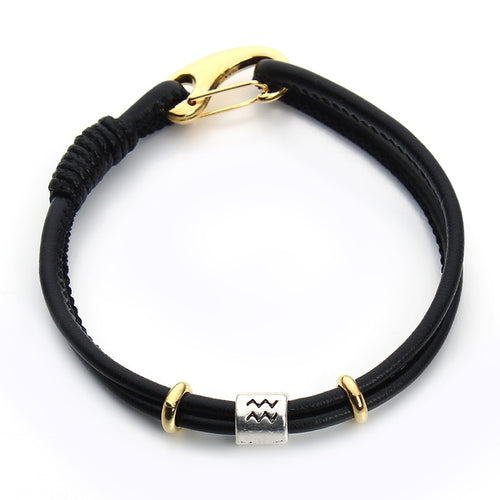 Zodiac Handmade Black Leather Bracelet