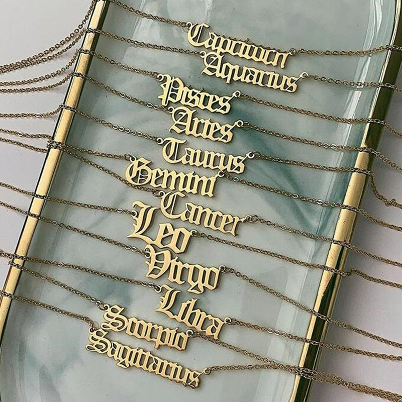 Gothic Font Zodiac Necklace (Gold & Silver)