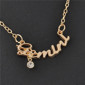 Zodiac Script Necklace with Rhinestone