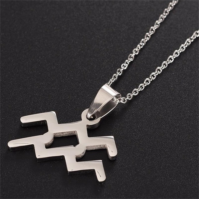 Zodiac Sign Charm Necklace - Silver