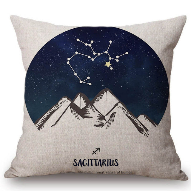 Zodiac Linen Throw Pillow