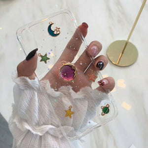 3D Moon and Star Glitter Phone Case