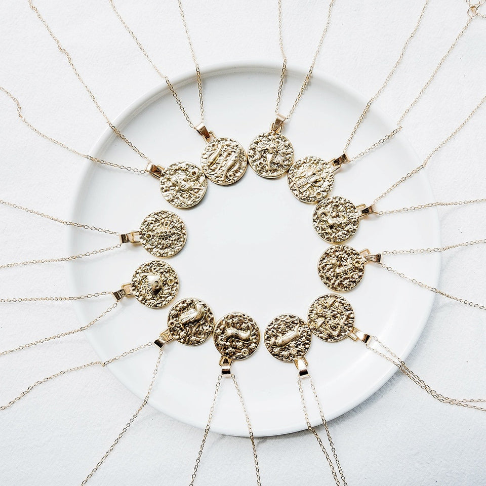 Gold Circular Zodiac Necklace