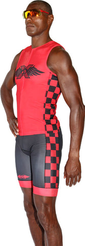 TRILAB Mens Red RacerX Tri Shorts - Triathlon LAB