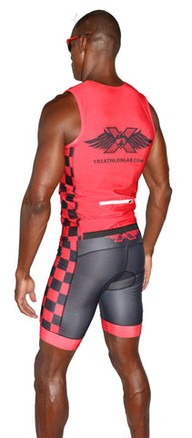 TRILAB Mens Red RacerX Tri Top - Triathlon LAB