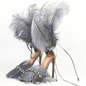 OHICHIIC SEXY FUR HANDMADE PARTY HIGH HEELS