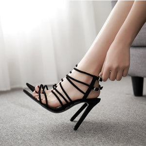 High heel sandals with straps and buckles