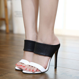 Ohichiic Black white high heeled slippers Sandals
