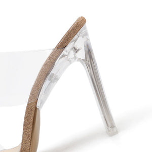 ish mouth sexy transparent peep-toe thick heel slippers