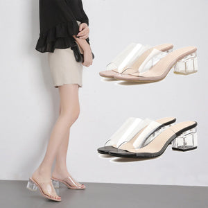 Transparent crystal fish mouth with thick summer sandals