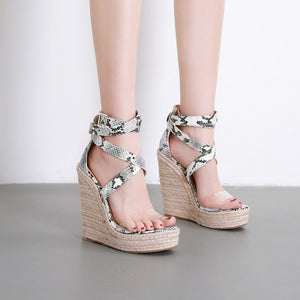 Ohichiic Strappy Snake Wedges Sandals