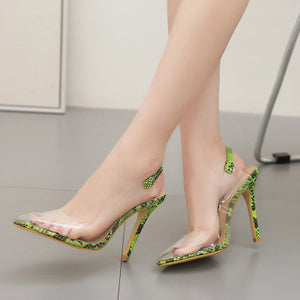 Transparent film sexy pointy high heel back empty sandals