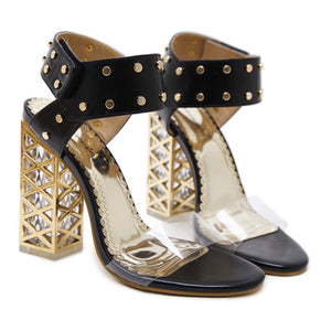 Clear leather high heel sandal