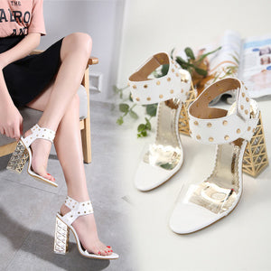 Crystal thick heel rivet high heel peep-toe female sandal