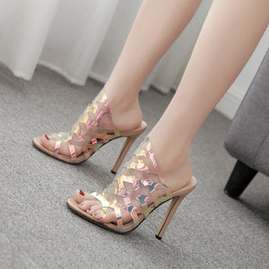Thin heel sandals with hollowed-out sequins