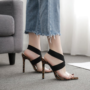 Stretch elastic cross toe sexy pointed high heel sandals