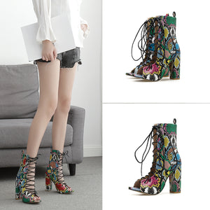Ohichiic  high heel Ankle Lace up Boots