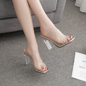 Sexy square head transparent high heel cool slippers