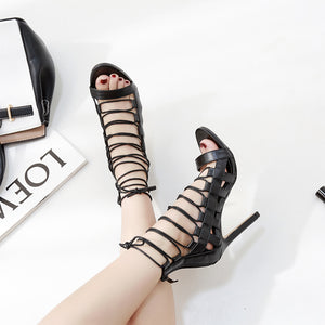Solid color cross strap sexy fashion stage sandals