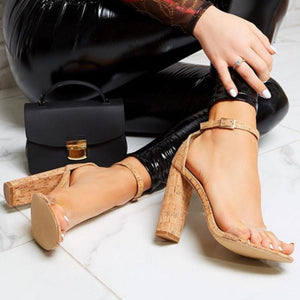Sexy high-heeled sandals with one-word buckles