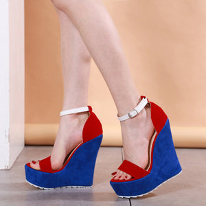 Ohichiic New high heel wedge sandals