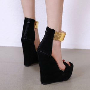 Street catwalk show comfortable personality wedge sandals
