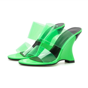 Ohichiic Neon Green Transparent Heeled sandals Slipper