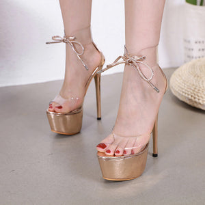 High - heeled fish-mouth sandals with glass strap