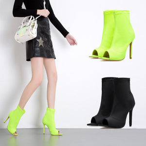 Pointed elastic cloth ankle boots with thin heels