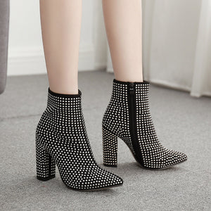 Fashionable spike ankle boots with chunky heels