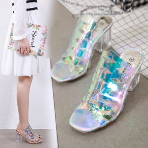 Summer new crystal slipper with cellophane slipper with medium high heel fish mouth sandals