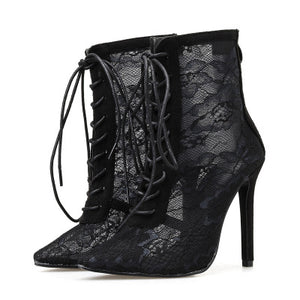 Net yarn ankle boots summer fashion ultra high heel boots