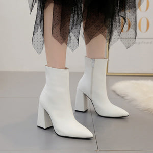Simple square root high heel pointed ankle boots