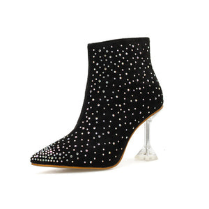 High heel pointed fashion crystal with nude boots lady