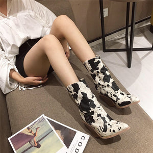 Fashionable high thick heel medium tube fashionable dress ankle boots