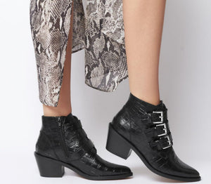 Ohichiic Black Cowboy boots Ankle Boots