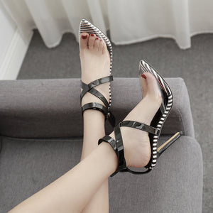 Stylish patchwork stiletto sandals with pointed, crossed straps
