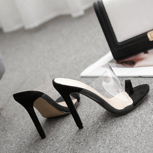 Transparent film slippers with high heels