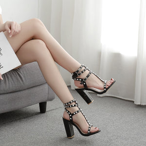 Rivet high heel sandals