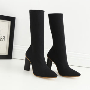 Thin leg stretch boots socks boots thick heel pointed high heel ankle boots