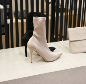 Stretch cloth ankle boots with high heels