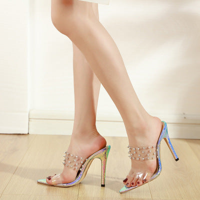 Ohichiic Crystal Fashion High Heel Sandals Slipper