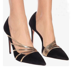 Ohichiic Fashionable Black Suede Gold Heeled Pump