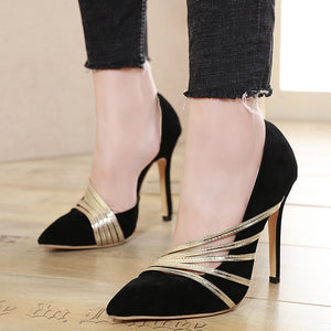 Comfortable matching color high heel hollow single shoes