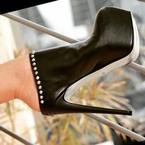 Rivet simple high heel ankle boots