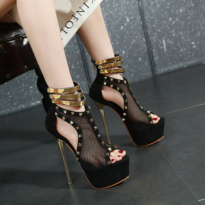 Star with rivet hollow-out mesh high heel sandals