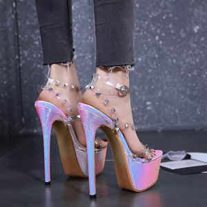 New transparent lyudin high-heeled sandals