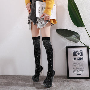 Knit water drill with 16 cm high heel boots