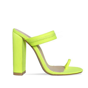 OHICHIIC FASHION NEW ARRIVAL  NEON FLUORESCENT LYCRA TOE LOOP MULES