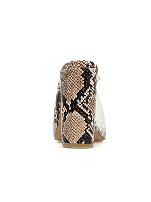 Stylish serpentine patterned PVC high heel slippers